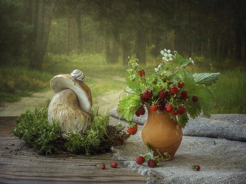 натюрморт, лето, лес, грибы, ягоды, земляника, улитка, Ирина Приходько