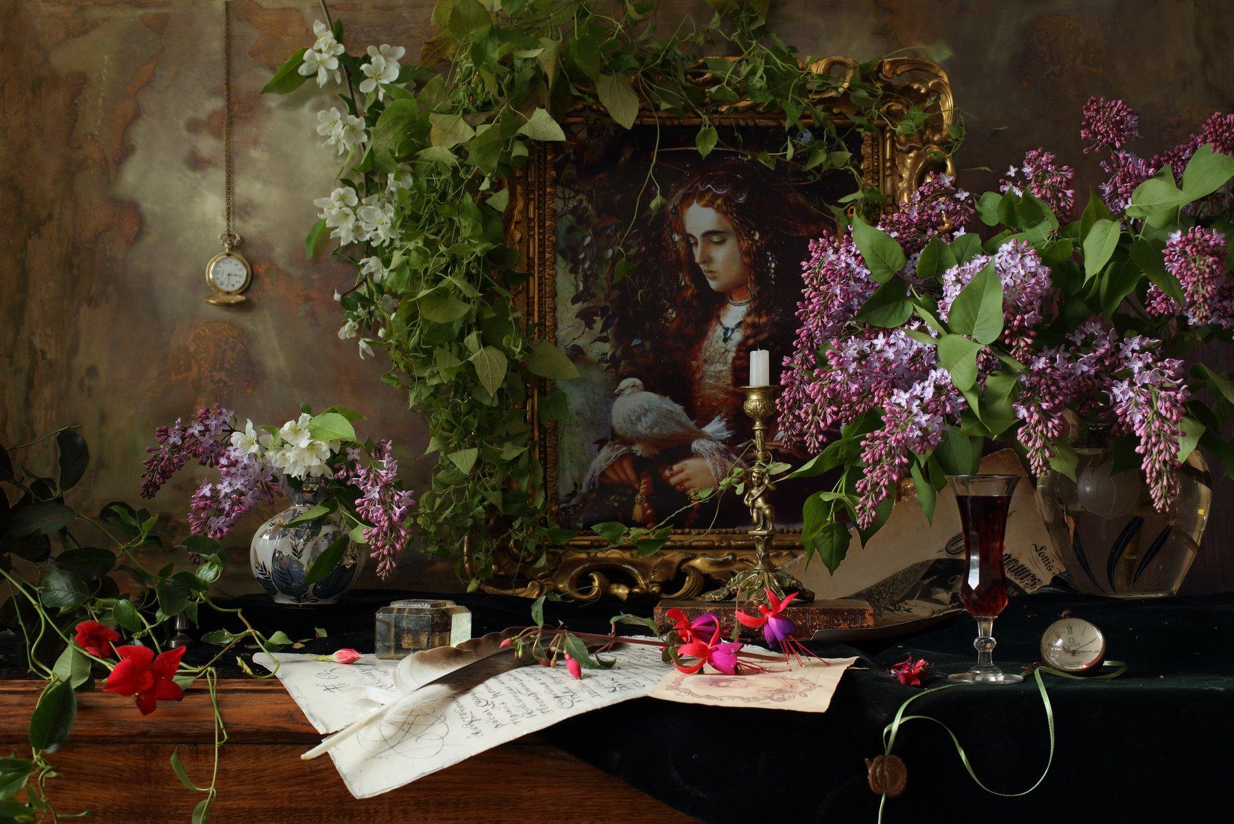 цветы, сирень, девушка, портрет, картина, свеча, Андрей Морозов