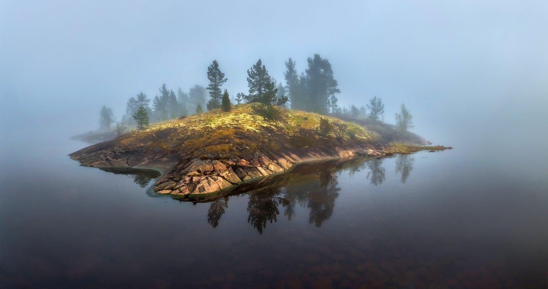 ладожское озеро, карелия, шхеры, лето, туман, скалы, лес, сосны, берег, фототур, остров, камни, путешествие, плавание, вода, отражение, солнце, Лашков Фёдор