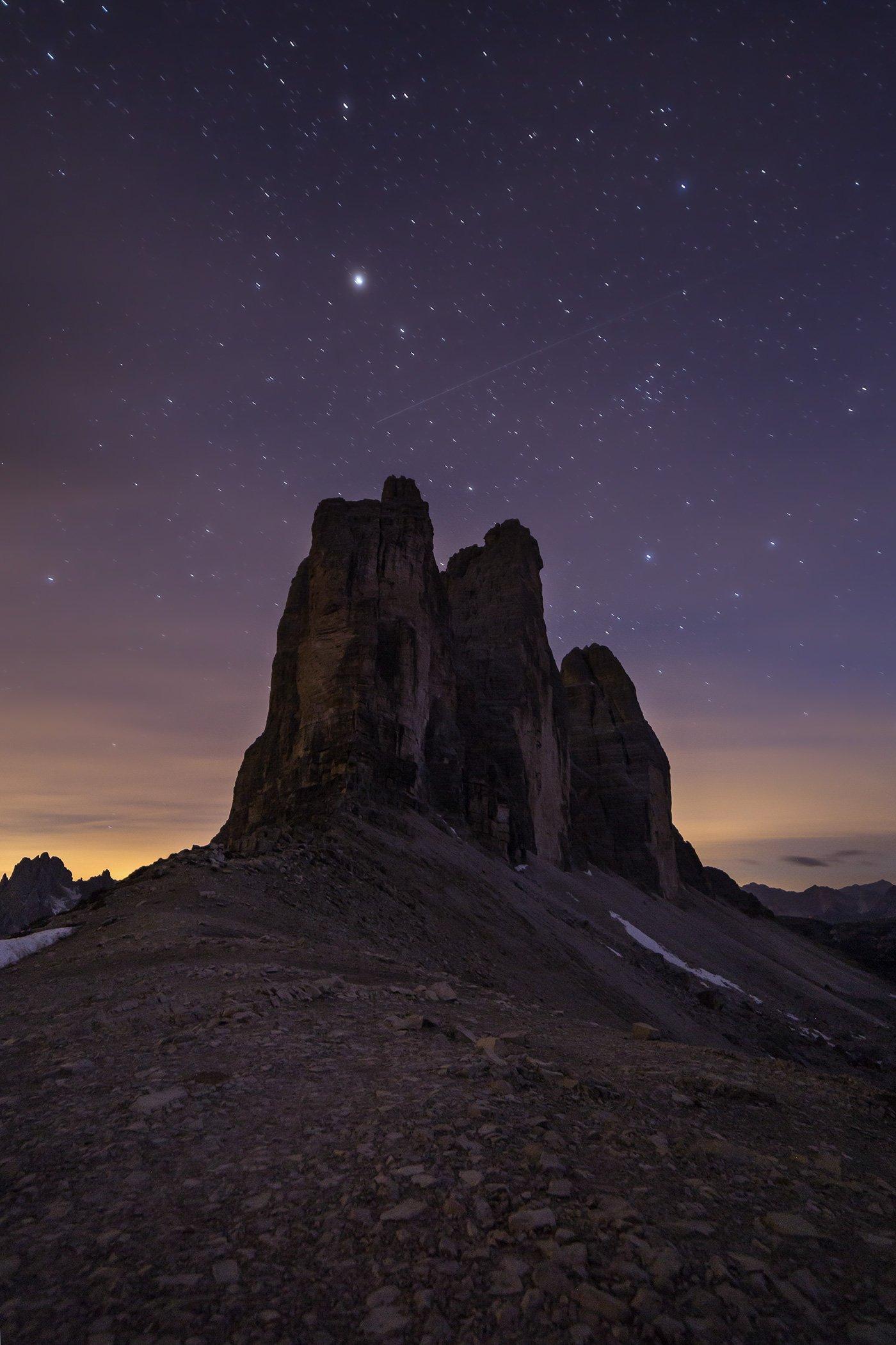night, dolomites, tre cime, rock, Jarda Kudlak