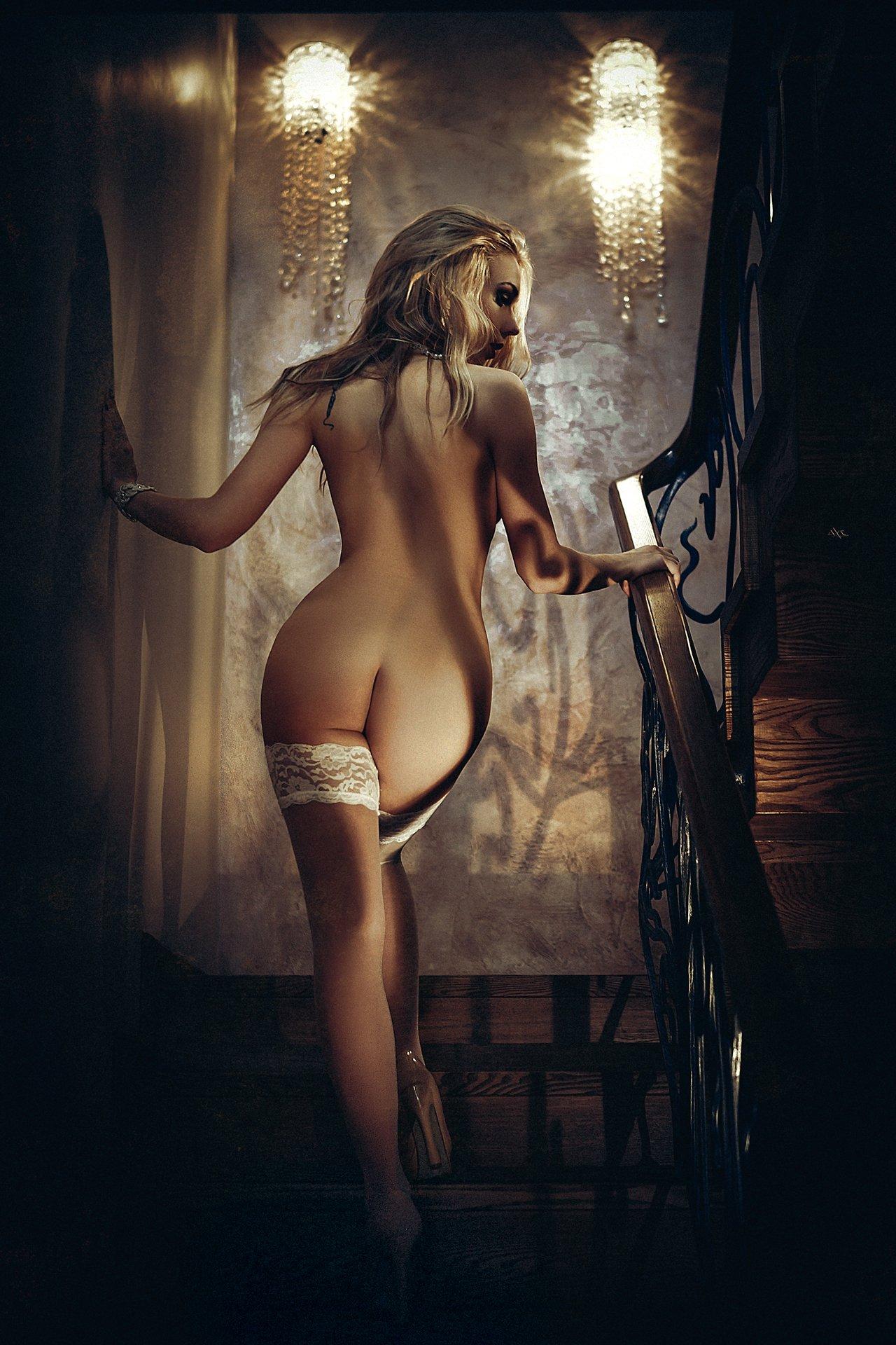woman, nude, stairs, light, beauty, Руслан Болгов (Axe)