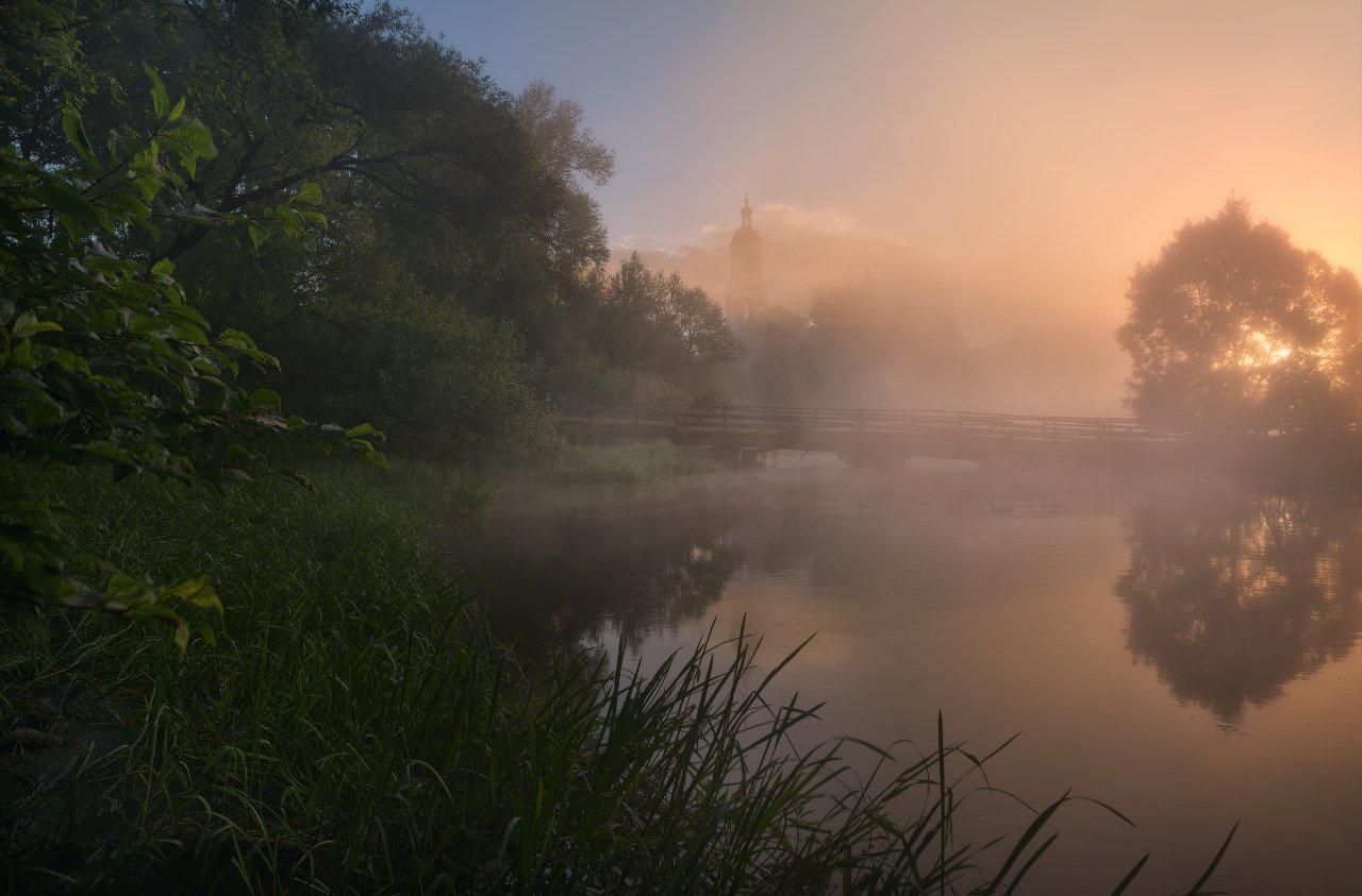 пейзаж, пейзажная съемка, утро, туман, храм, июнь, июньское утро, свежесть, молодая зелень, никон, landscape, may, fog, morning, church, Жмак Евгений