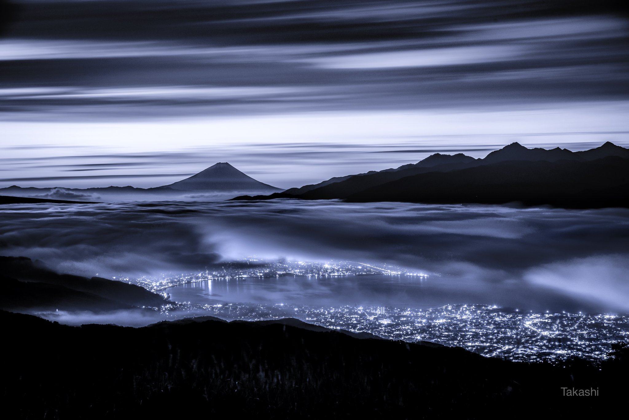 fuji,japan,mountain,clouds,sky,lake,night,wonderful,amazing,, Takashi