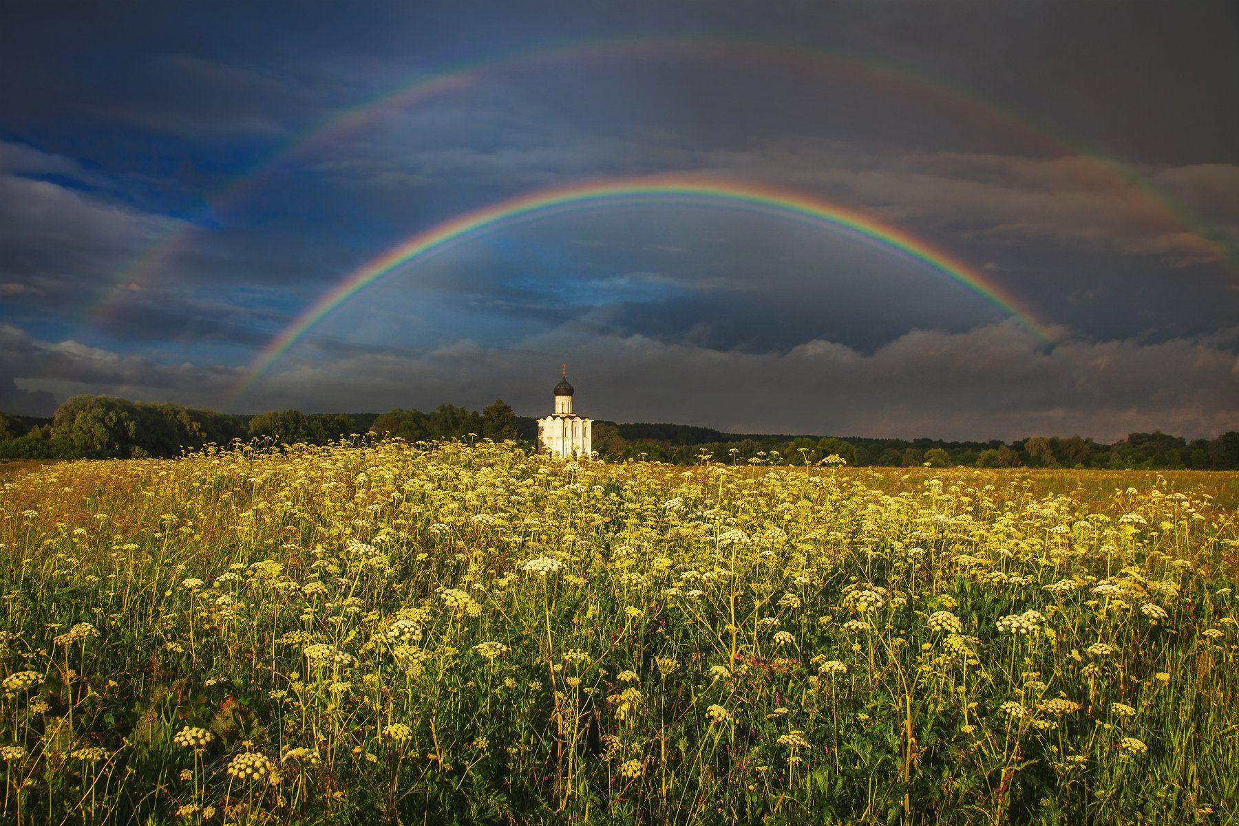 фото, природа, закат, радуга, гроза, церковь, Екатерина
