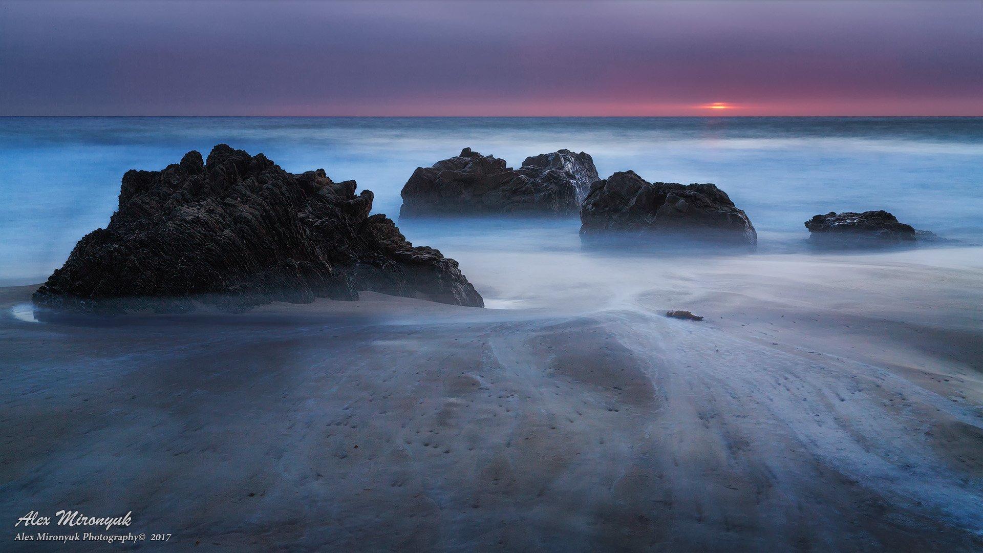 море, океан, тихий, волны, прибой, скала, камень, закат, солнце, тучи, панорама,, Alex Mironyuk