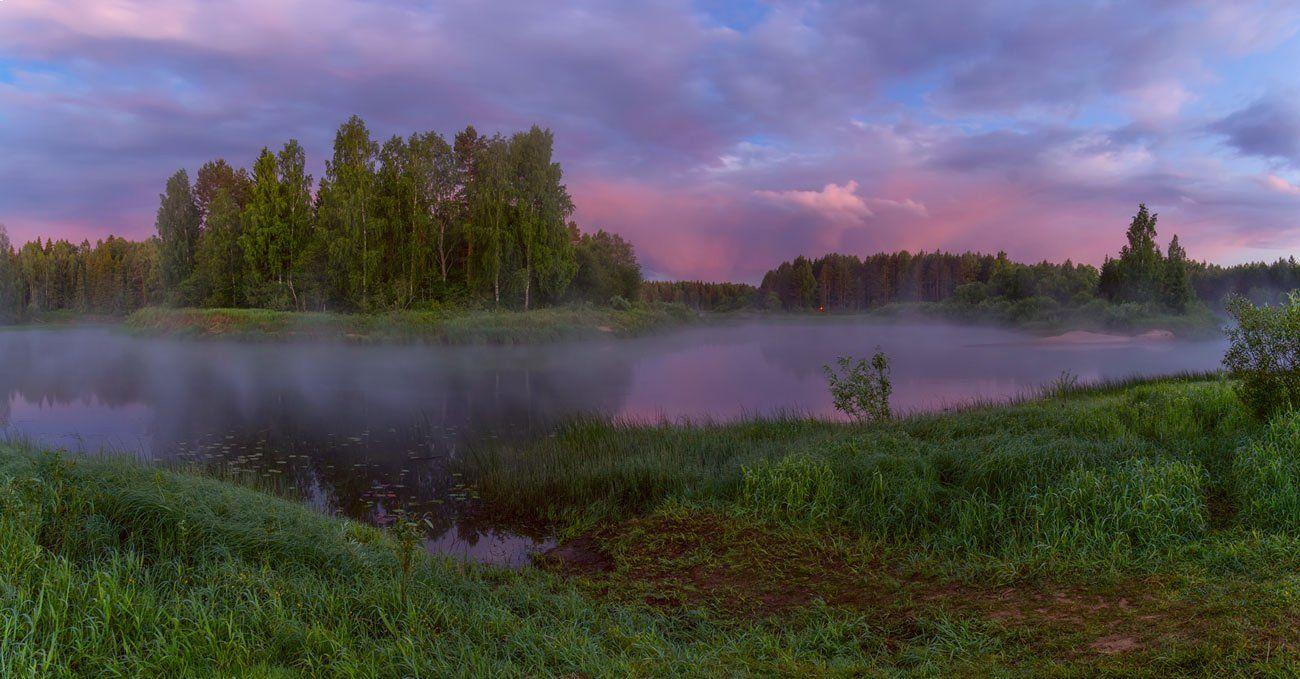 рассвет река тучи туман, Марина Мурашова