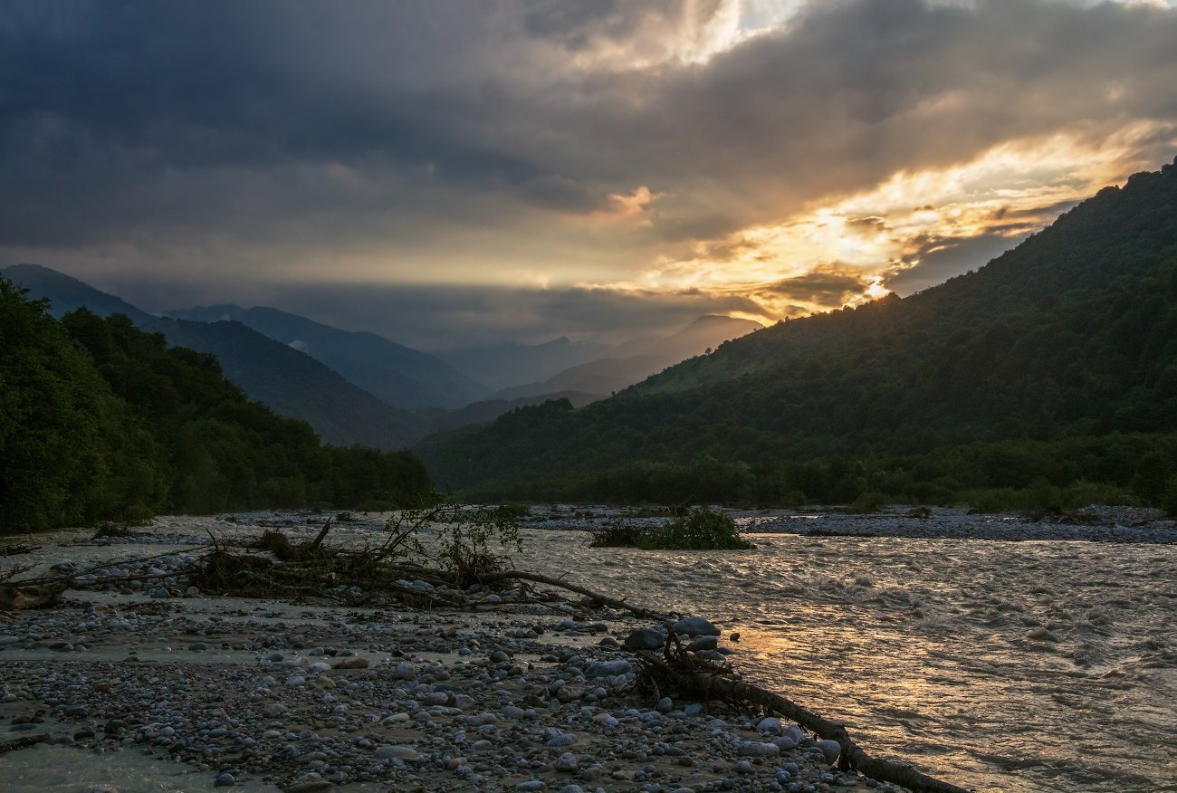 горы, река, закат, Эстелла