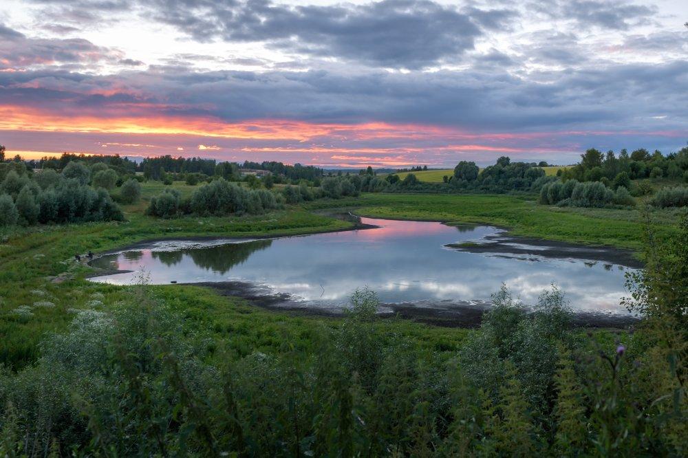 пейзаж,природа,закат,небо,облакат,вечер,лето, Юлия Лаптева