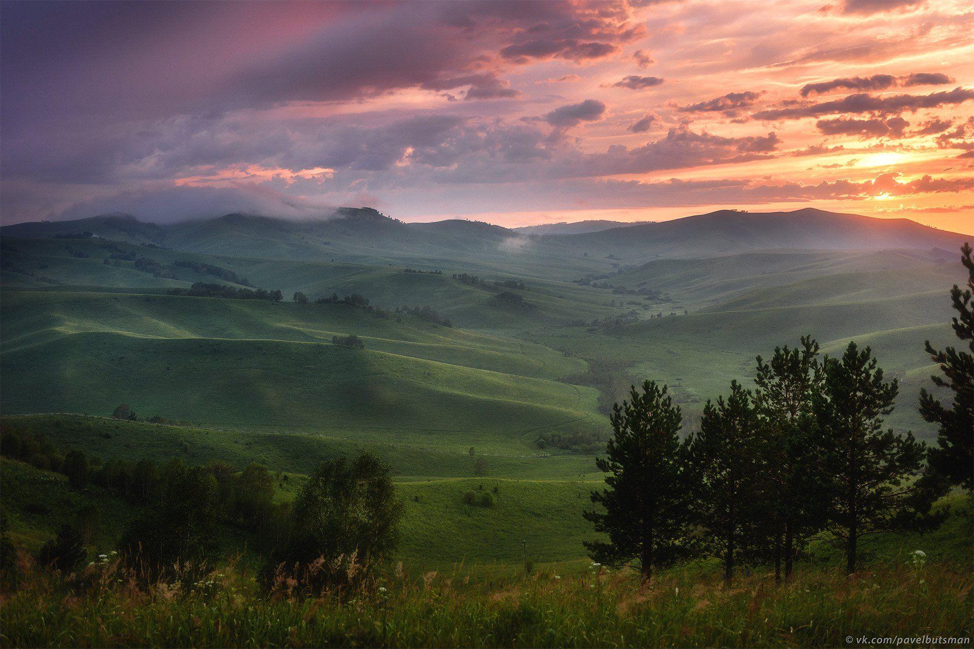 алтай, горы, вечер, закат, небо, облака, холмы, Павел Силиненко