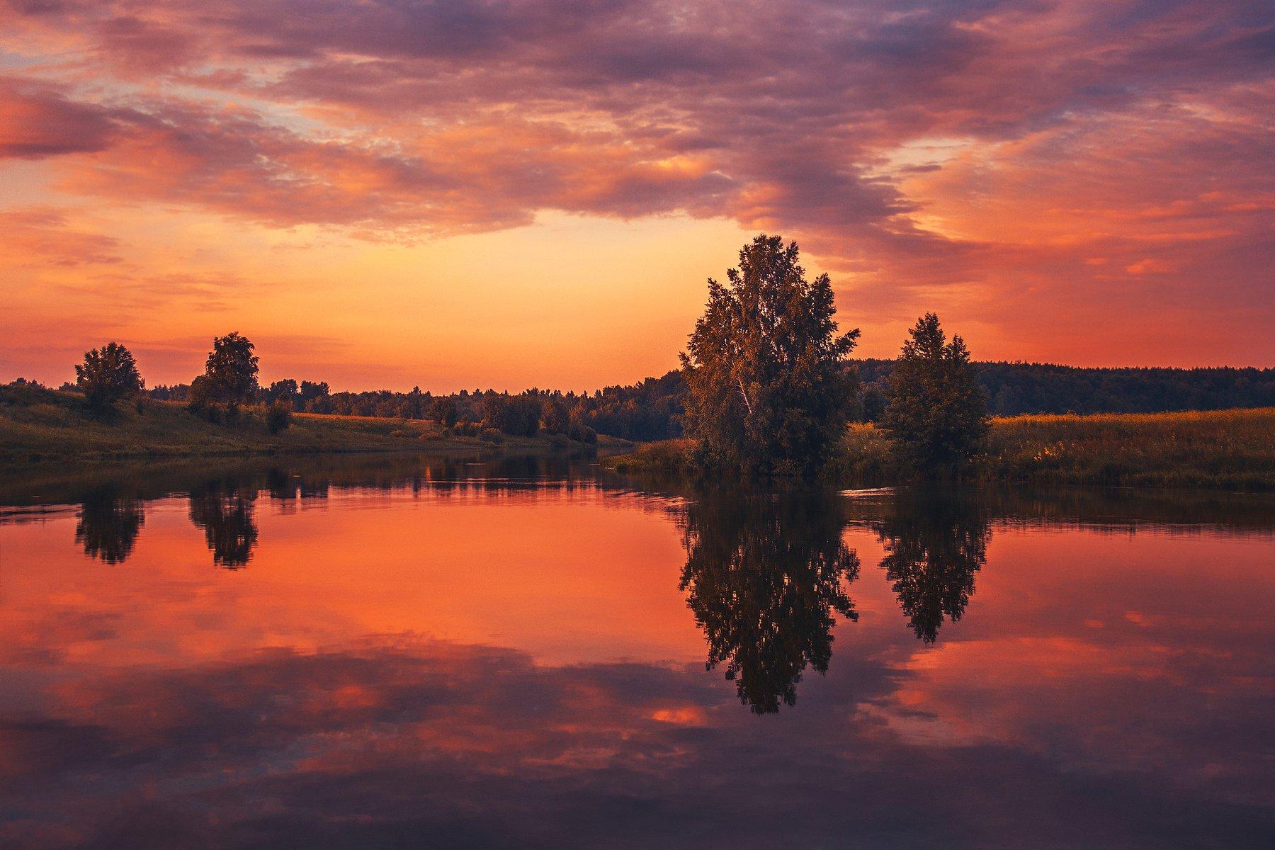 фото, природа, рассвет, река, лес, лето, Екатерина