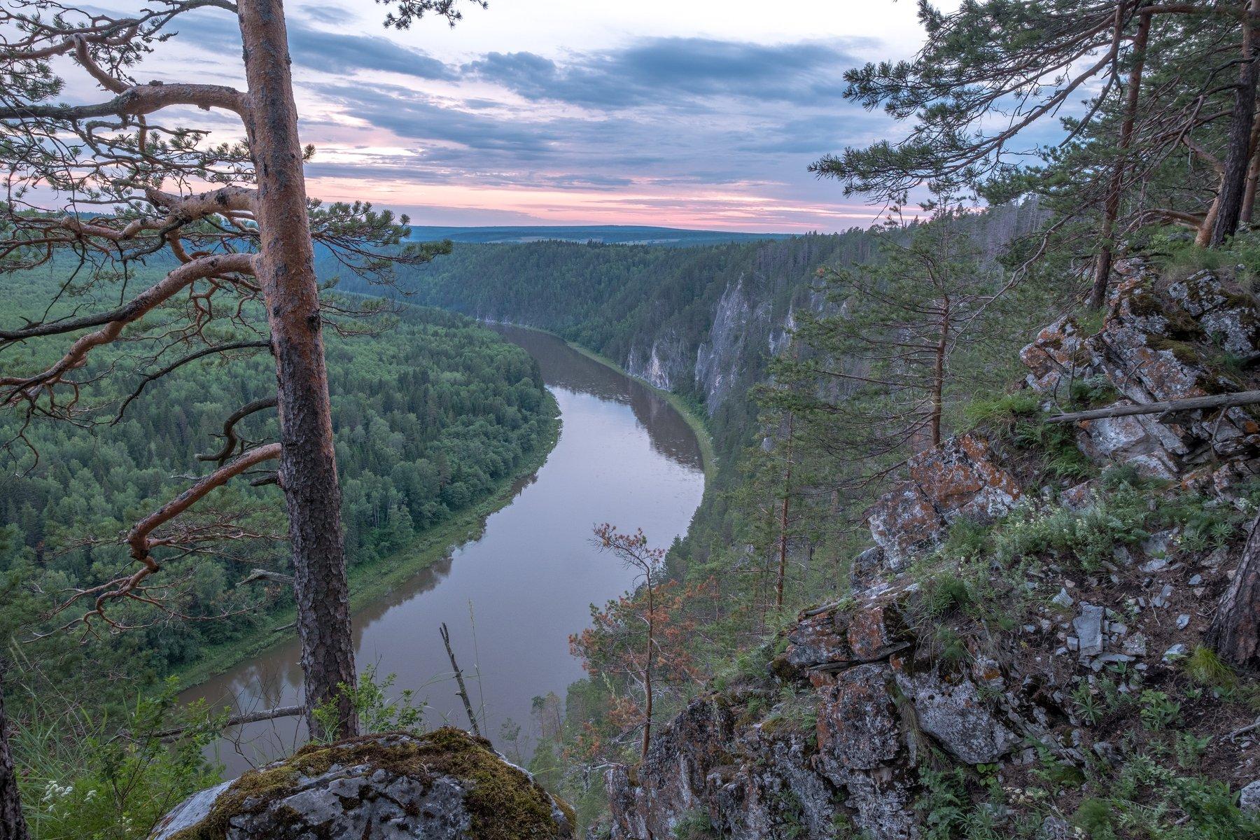 вечер, река, скалы, высота, простор, Чусовая, лес, сосна, закат, Савицкий Ян