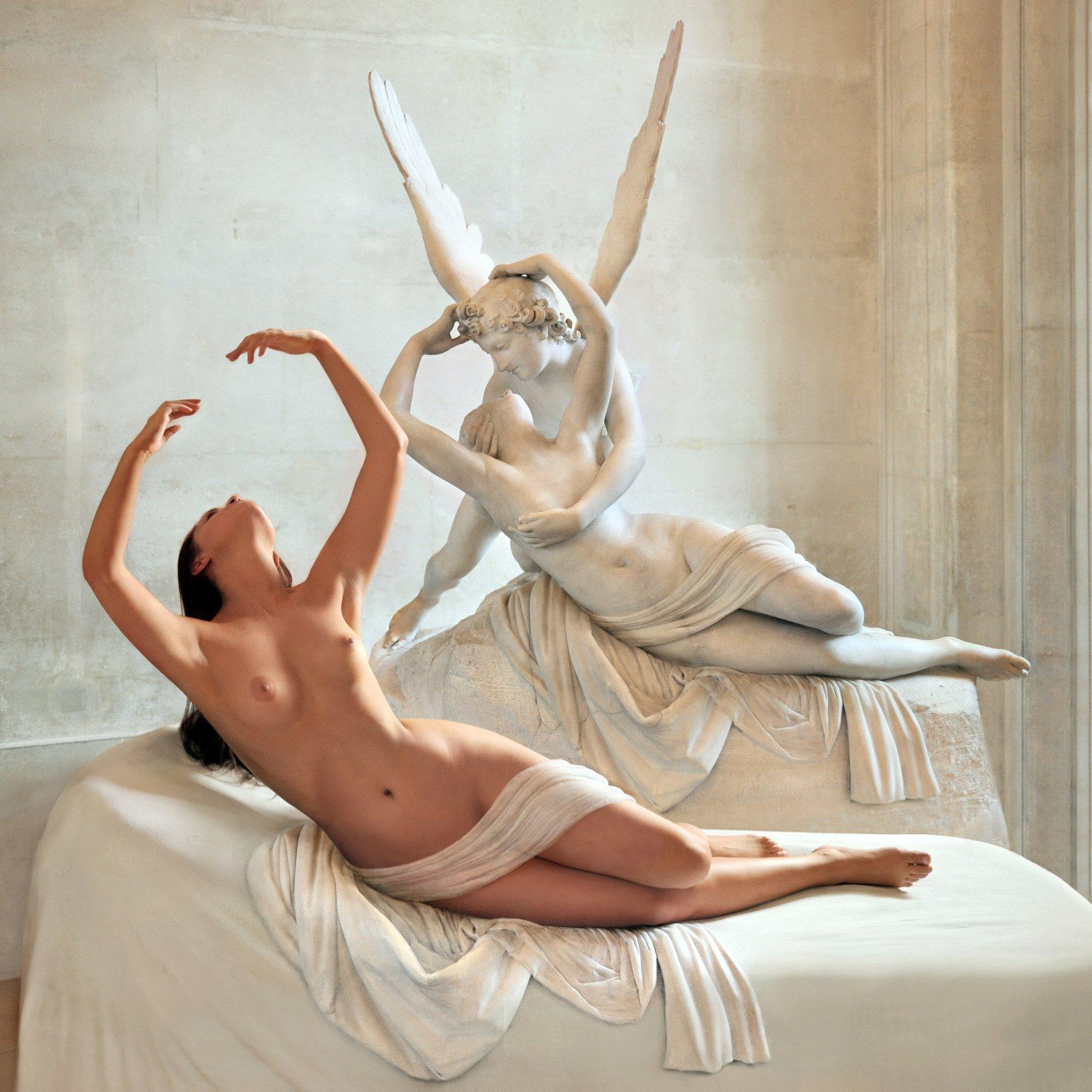 sculpture, art, museum, marble, stone, sleep, love, girl, nude, model, posing, paris, louvre, myth, greek, Endegor