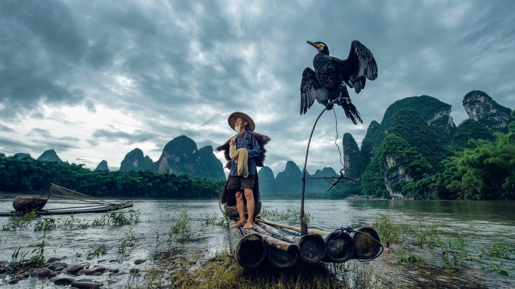 china, guilin,bird,river,mountain,cloud,boat,aisa,asian,, Adirek M