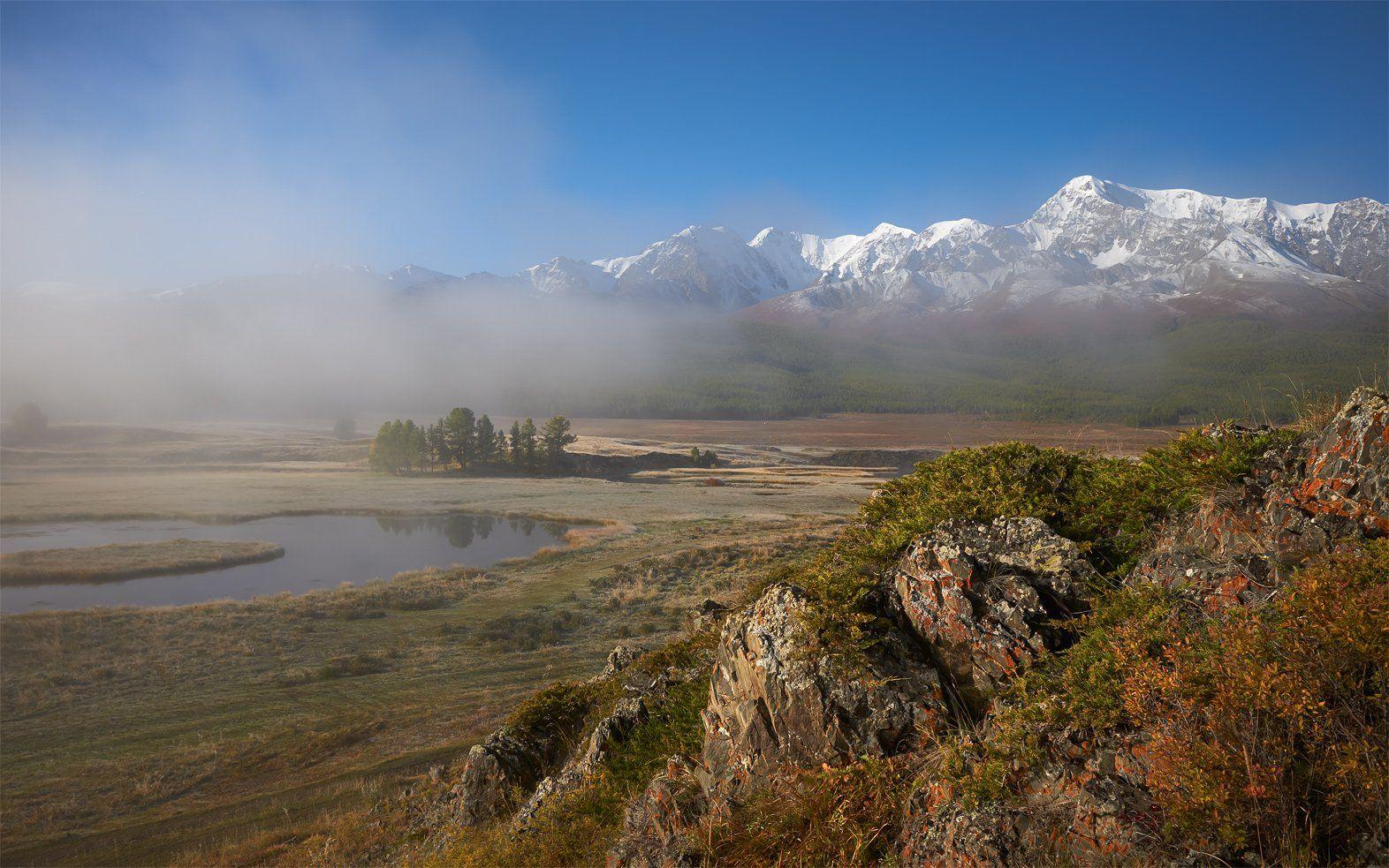 алтай, северо-чуйский хребет, урочище ештыкель, болото, туман, утро, куркурек, биш-иирду, alos
