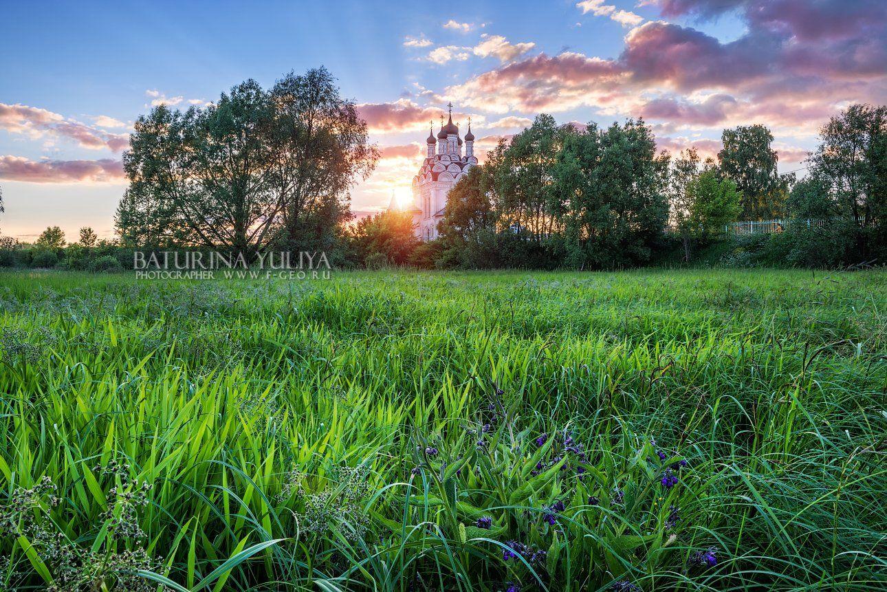 тайнинское, мытищи, закат, церковь благовещения богородицы, яуза, Юлия Батурина