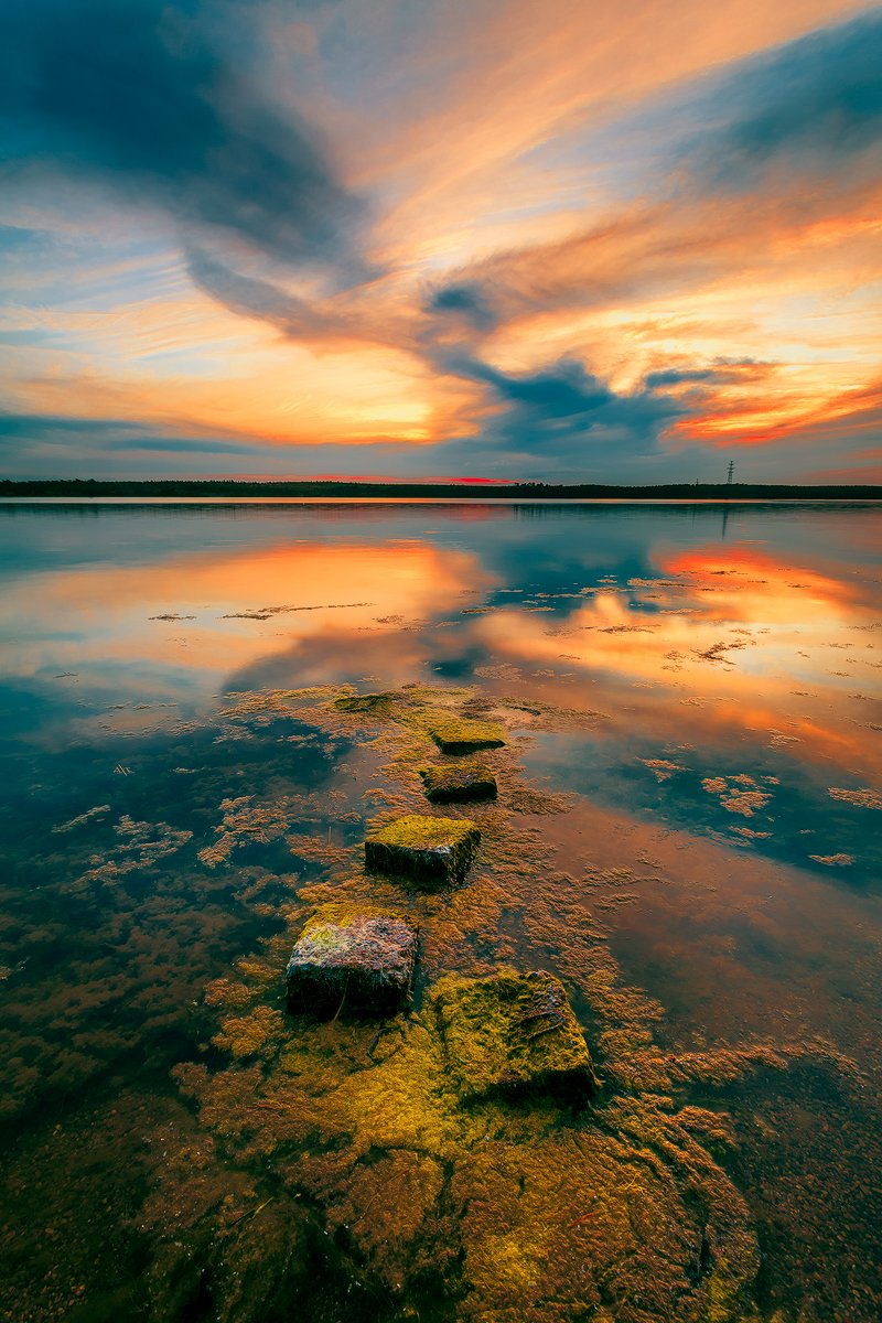 lithuania, curonian gulf, sunset, calm, stones, colors, refelction, Руслан Болгов (Axe)