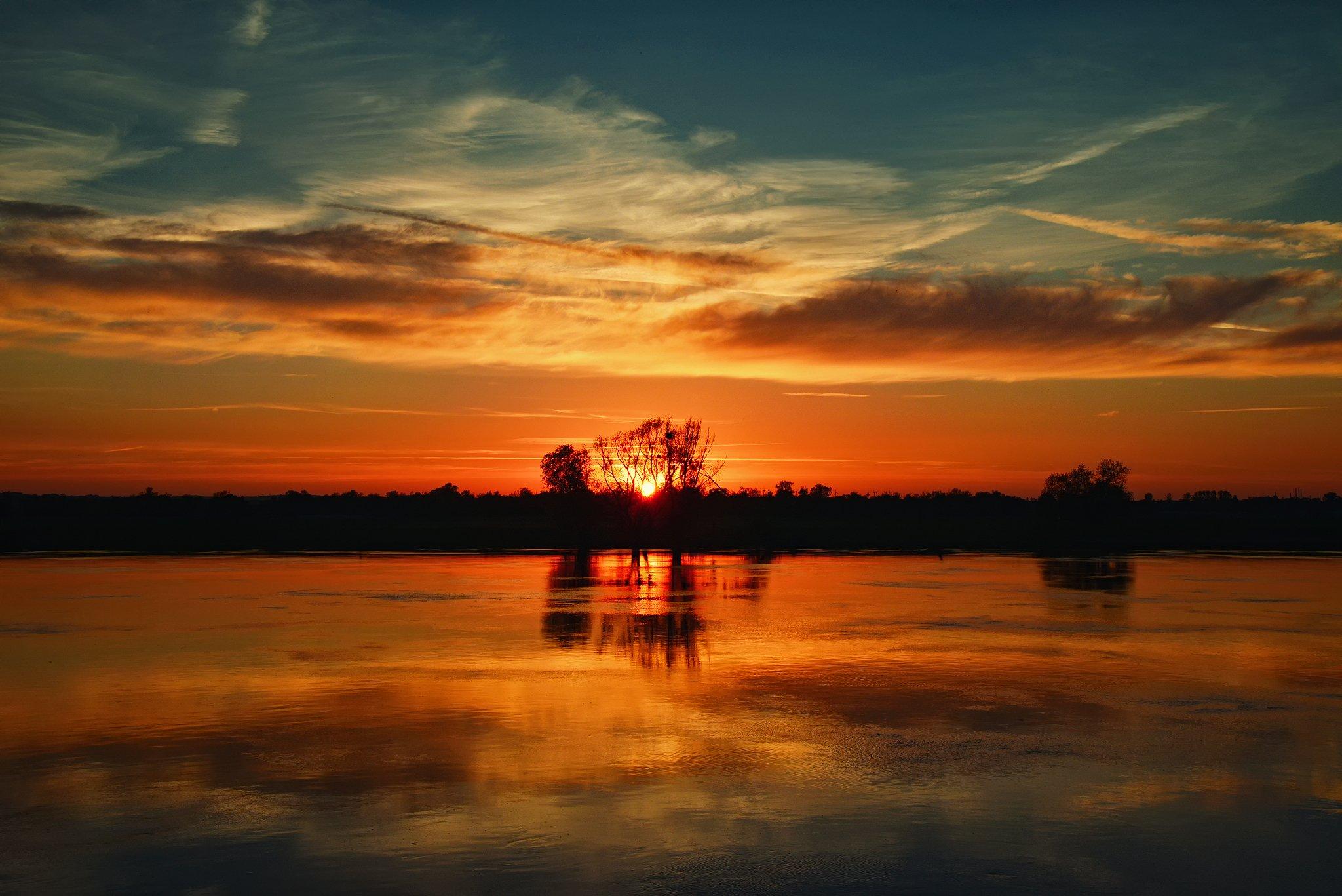 sunsed sundown odra river poland red sun water tree clouds magic, Radoslaw Dranikowski