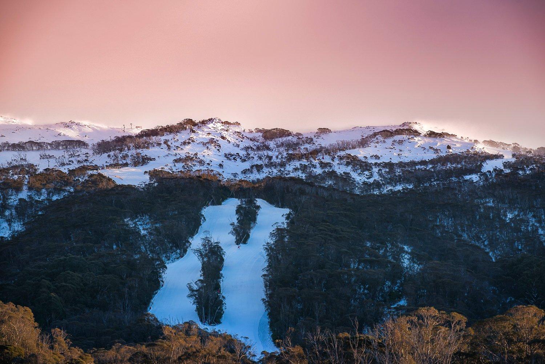 mountain, landscape, sunrise, snow, sky, pink, top, Derek Zhang
