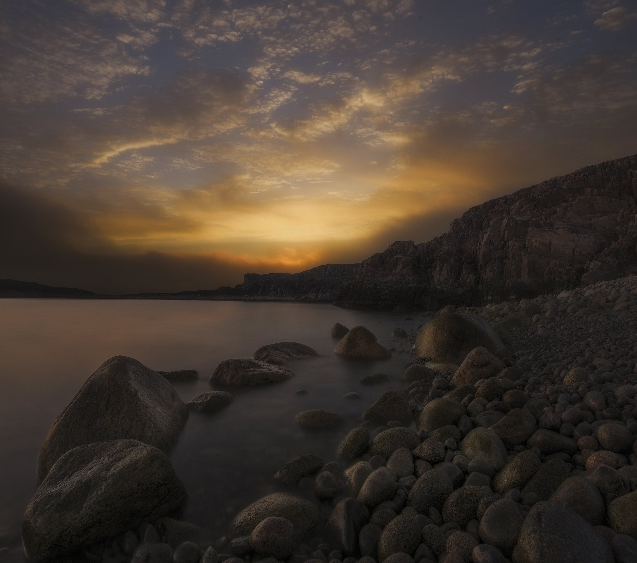 Рассвет, море, dawning light, Кольский полуостров, Баренцево море, Barents sea, Васильев Алексей