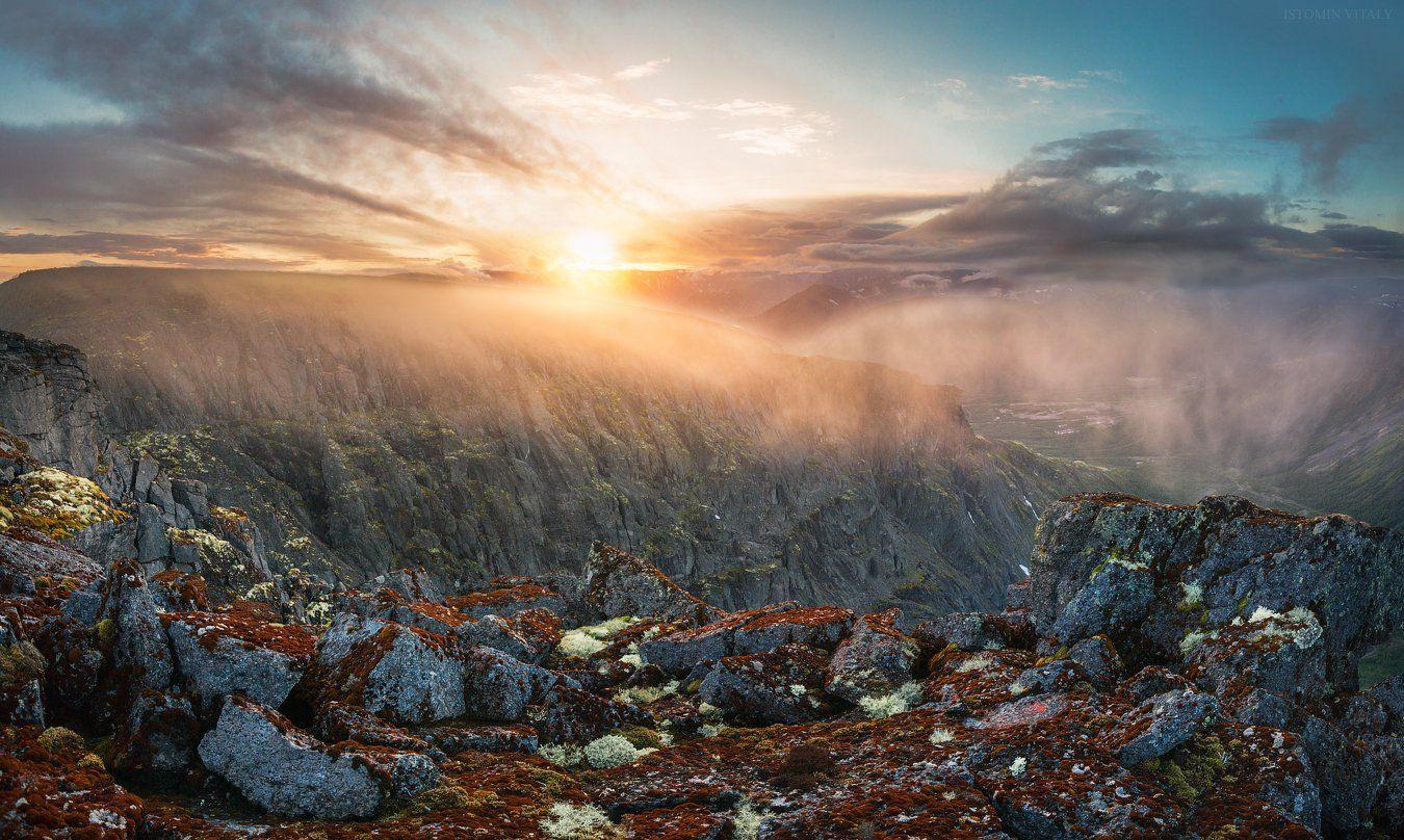 пейзаж,россия,хибины,закат,свет,тень,туман,красиво,панорама,горы,кольский,север,тучи,камни,кировск, Истомин Виталий