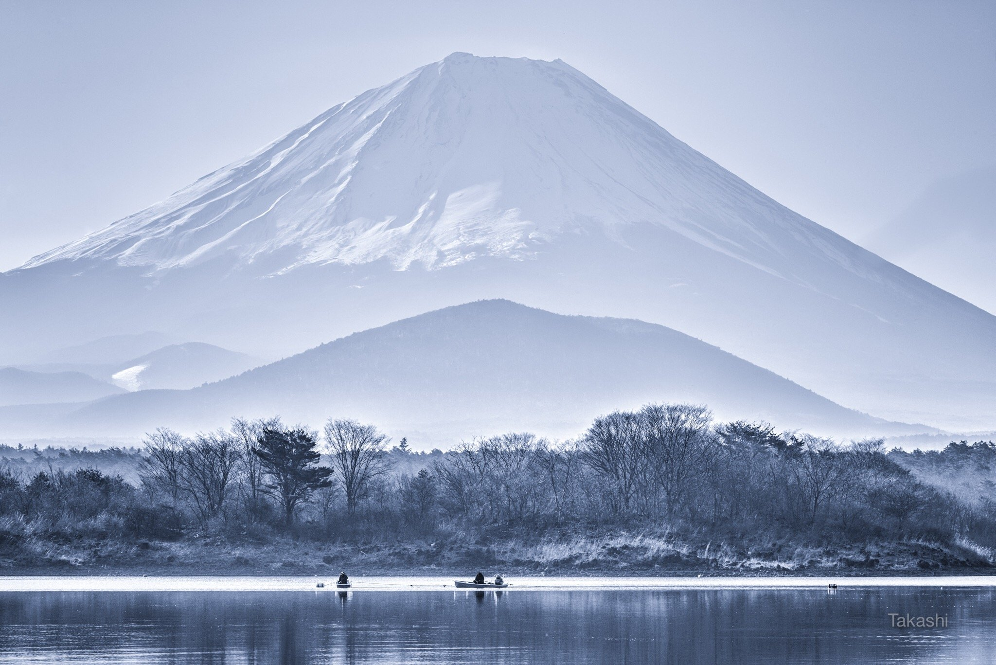 Fuji,mountain,tree,lake,boat,fishing,Japan,snow,landscape,fisherman,blue, Takashi