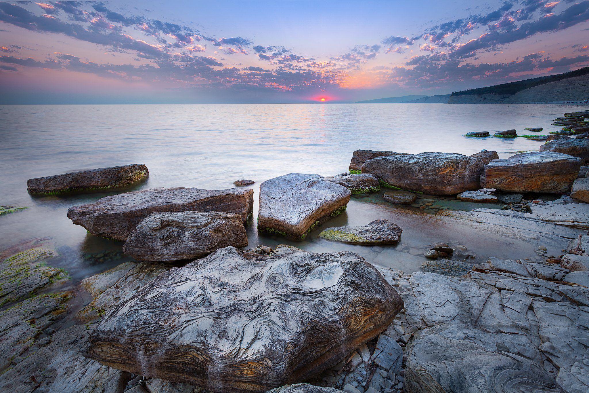 черне море, закат, камни, узоры,, Андрей Огнев