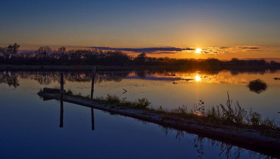 мостик, река, закат, солнце, KSergeyV