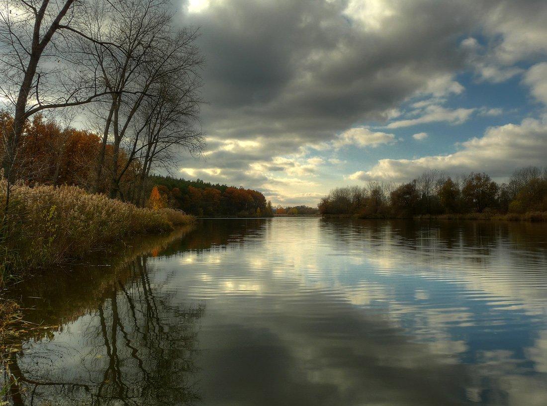 пейзаж, пруд, облака, DAN