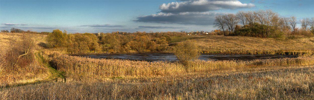 панорама, пейзаж, поле, пруд, деревья, облака, DAN