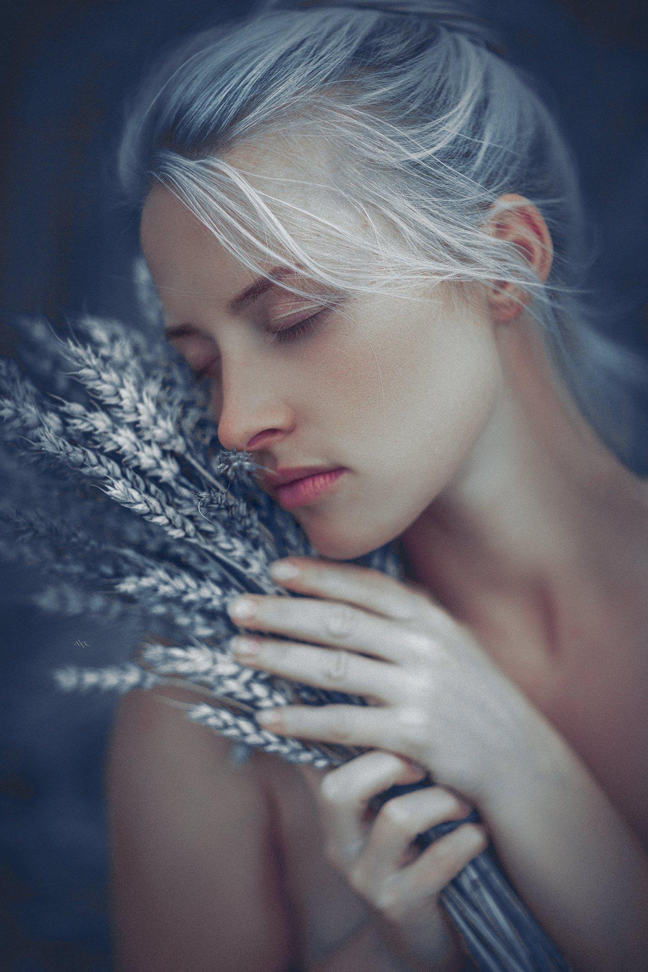 woman, portrait, nature, toning, blonde, wheat, mood, Руслан Болгов (Axe)