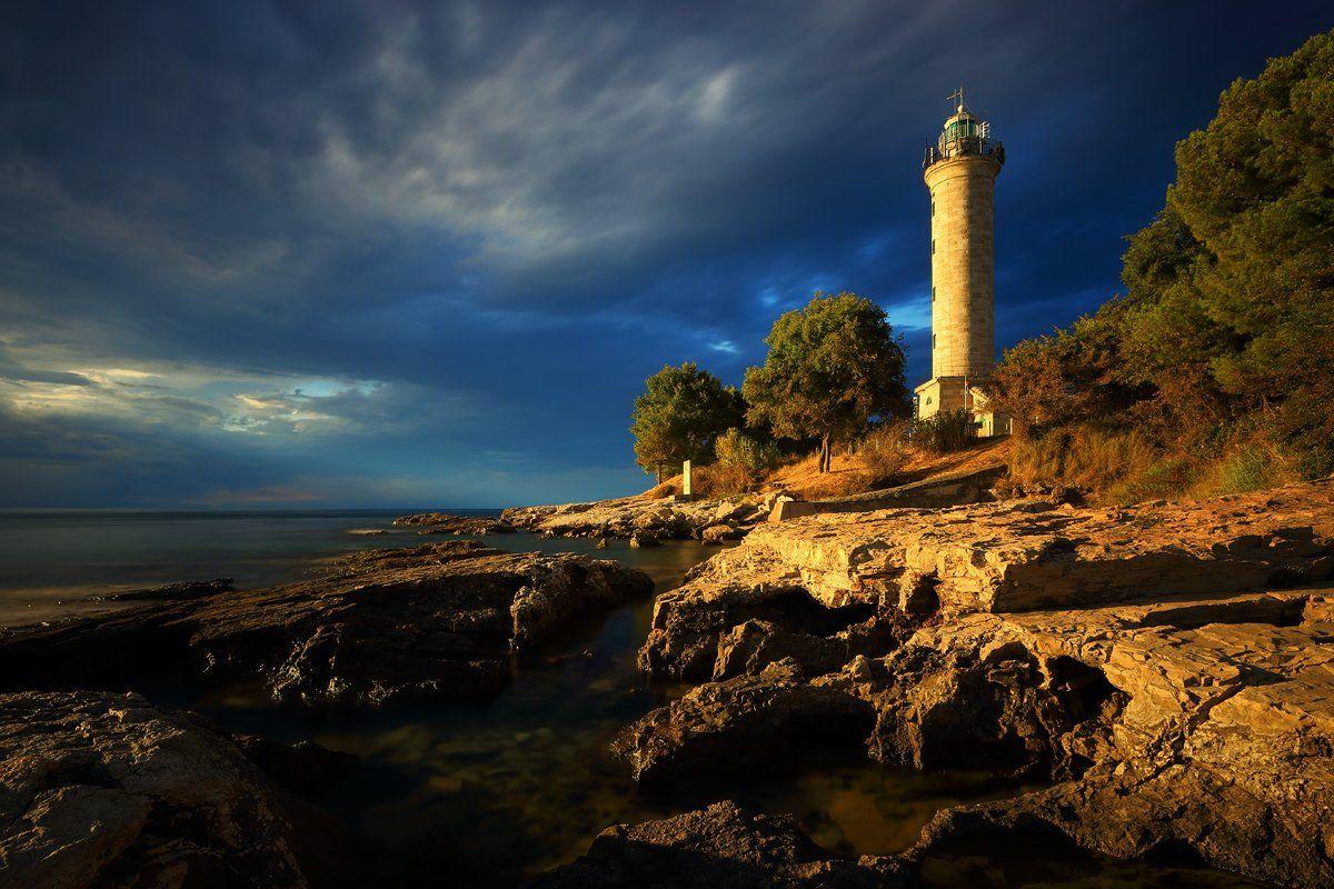 croatia, lighthouse, sunset, sea, rocks, Jacek Lisiewicz