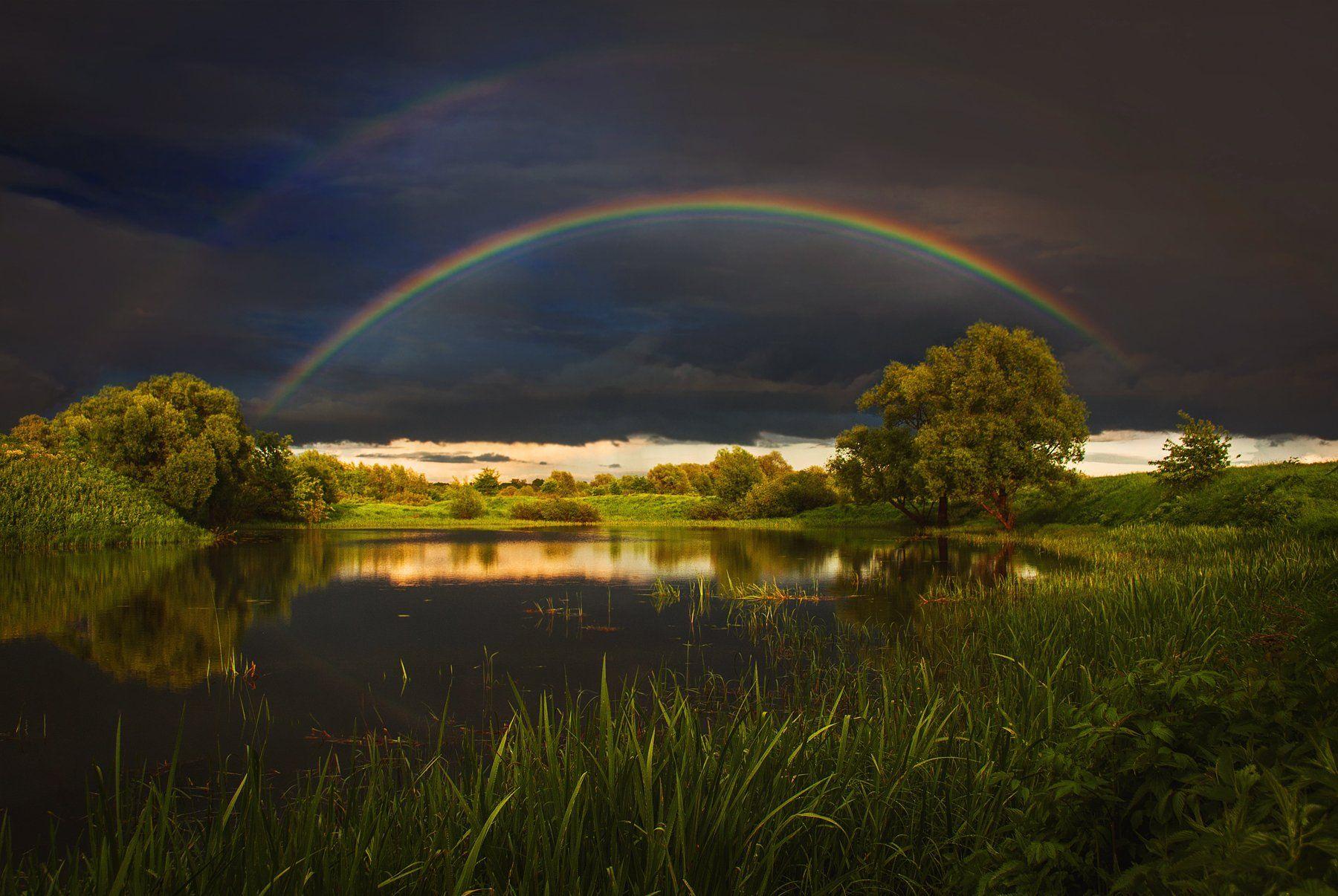 фото, природа, закат, гроза, радуга, лето, озеро, лес, Екатерина