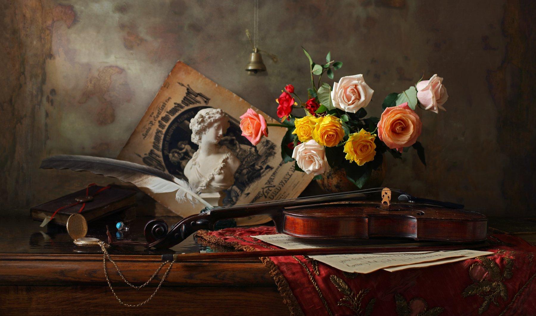 натюрморт, скрипка, музыка, бюст, девушка, розы, книги, история, Андрей Морозов