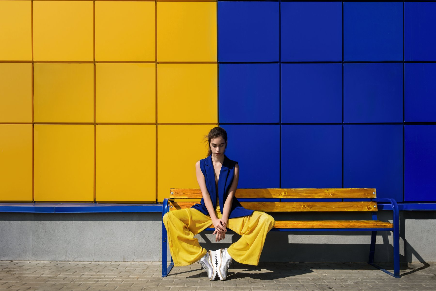 yellow, blue, color, composition, glamour, fashion, model, Nikon, exposure, Russia, geometry, young, model tests, Анна Дегтярёва