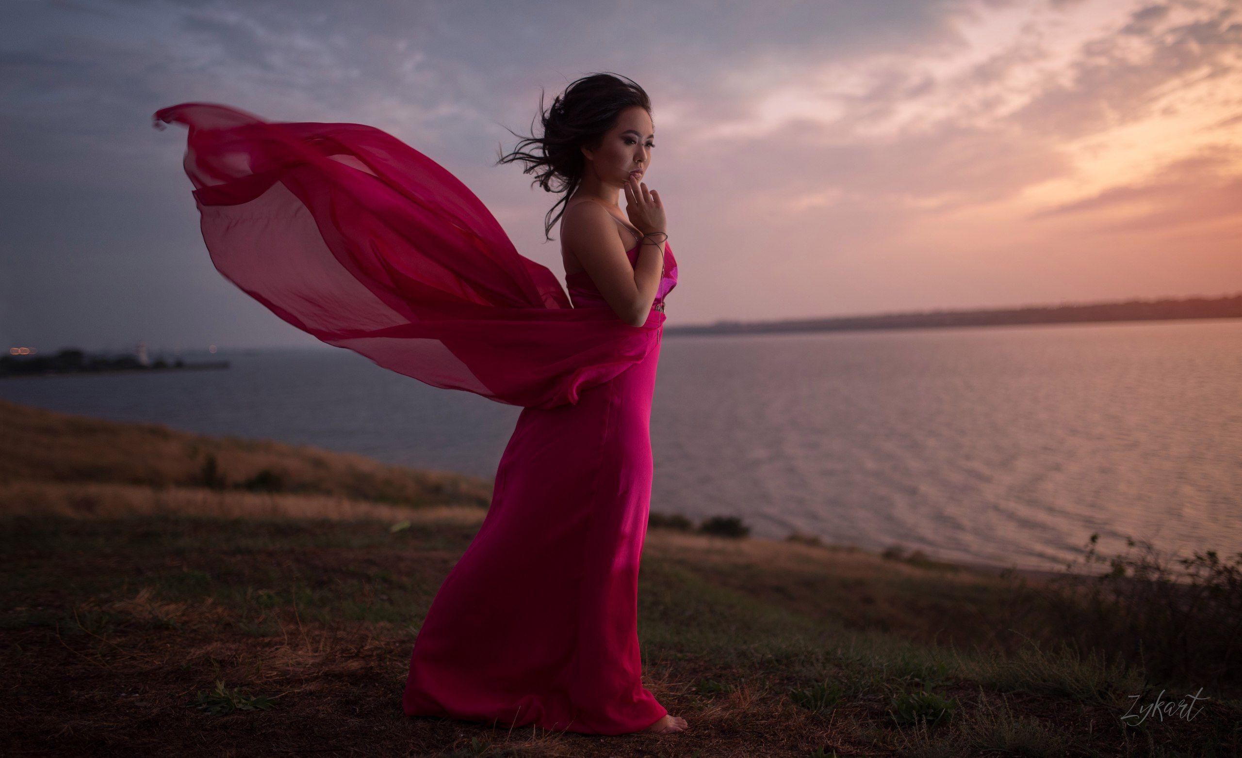 woman dress water wind nature pink beautiful волны девушка ветер фото_недели фото_дня лучшее_фото weaves природа красота, Маргарита Жуковкая