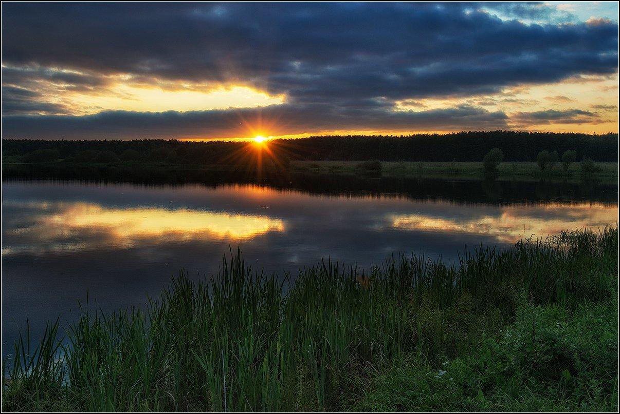 лето, вечер, пруд, солнце, отражение, лес, Анатолий Довыденко