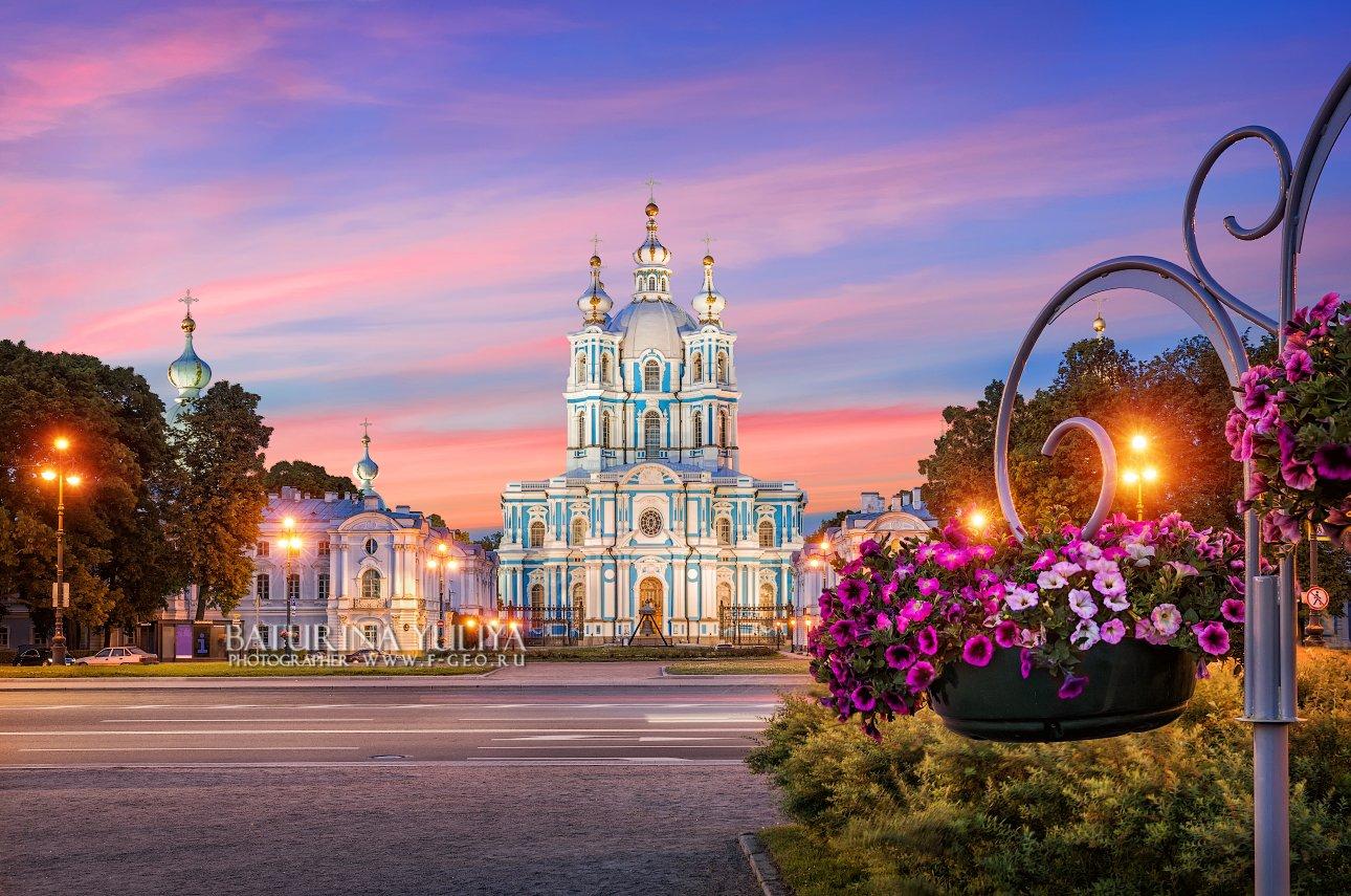 смольный собор, санкт-петербург, цветы, Юлия Батурина