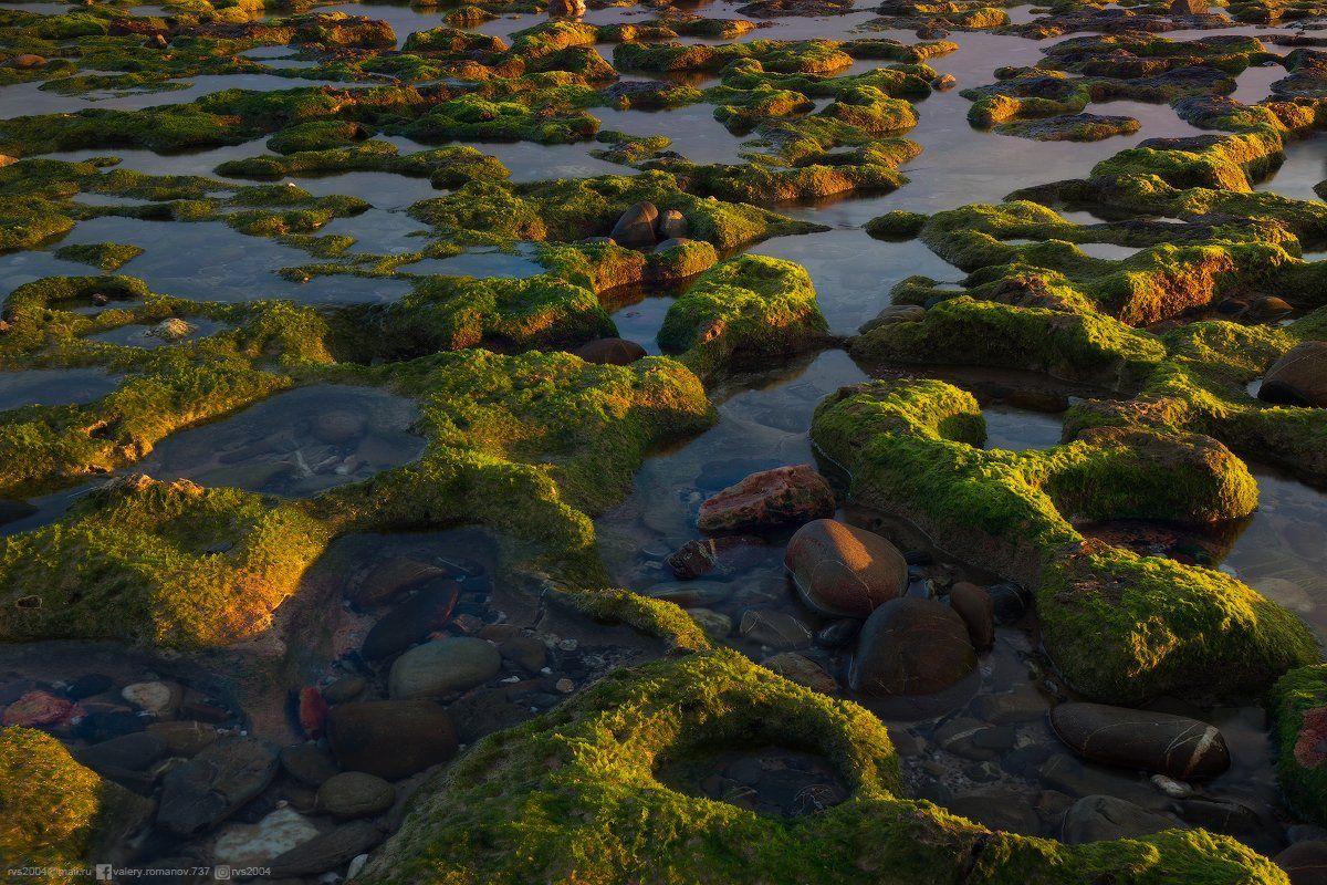 восход, закат, вода, абстрактный, спокойный, зеленый, мирный, берег, камень, береговая линия, водный ландшафт, спокойный, бухта, идиллия, рай, синий, море, тропики, остров, водоросли, Португалия, Вила-Нова-де-Мильфонтеш, Валерий Романов