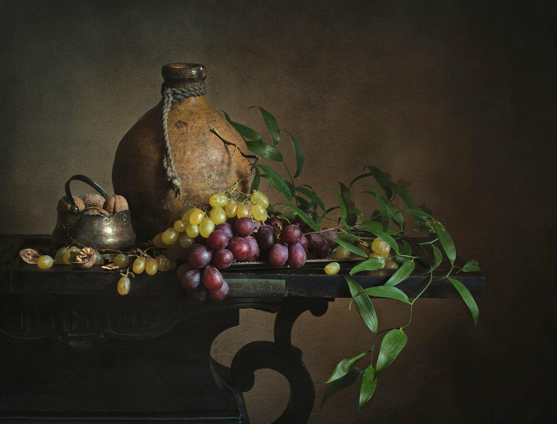 натюрморт, предметка, виноград, орехи, Анна Петина