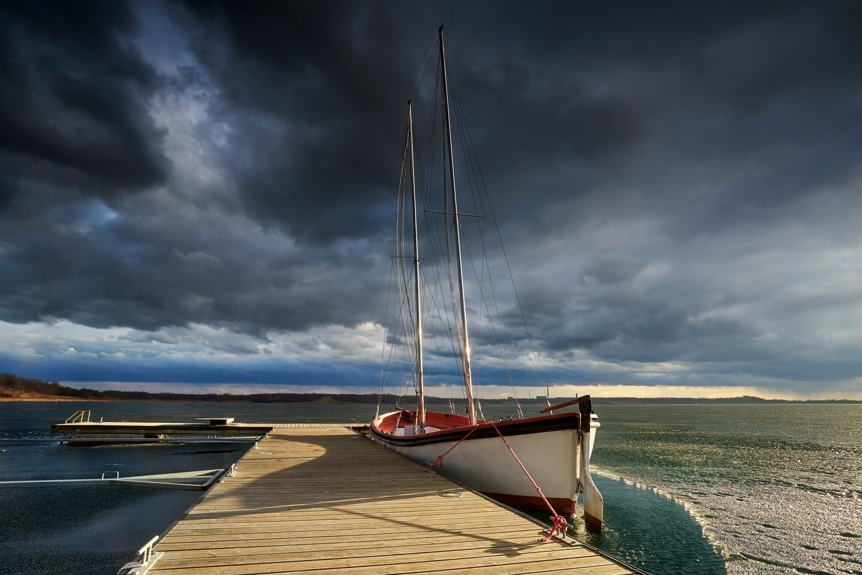 boat, landscape, poland, cloudy, windy, Jakub