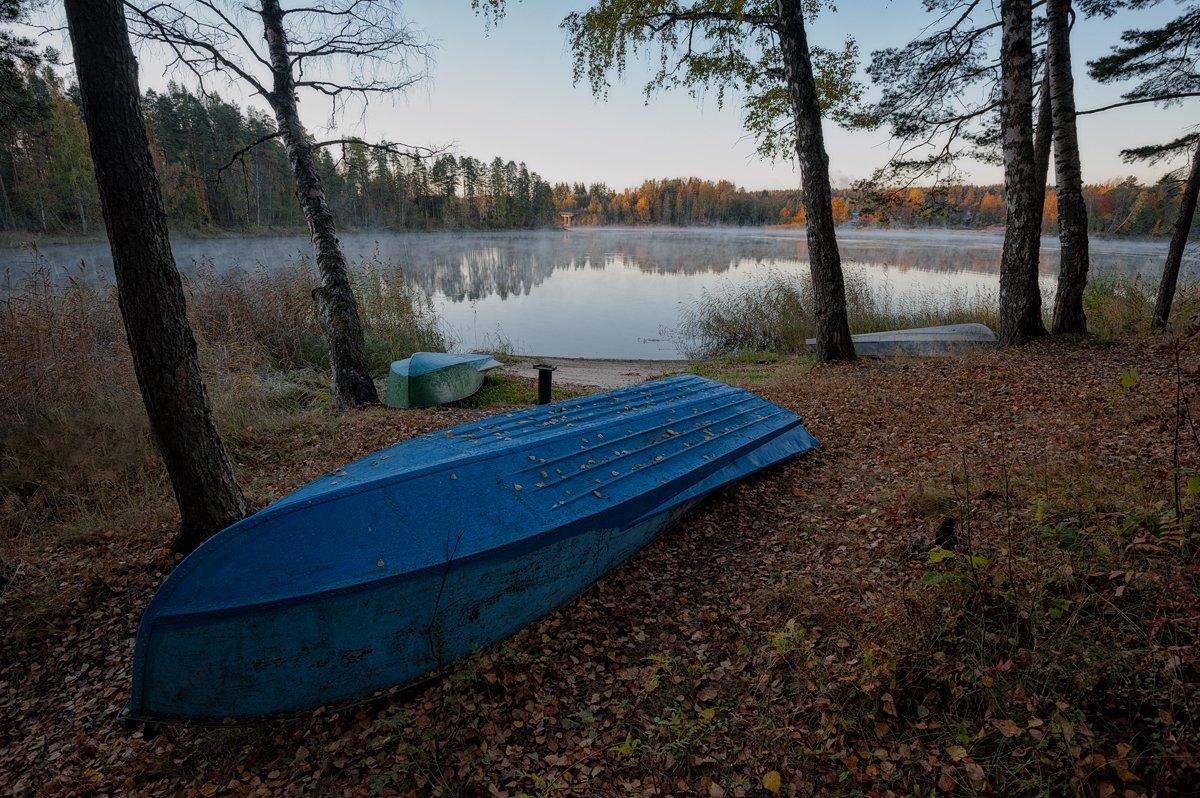 осень,пейзаж,берег,лодки,туман, Евгений Плетнев