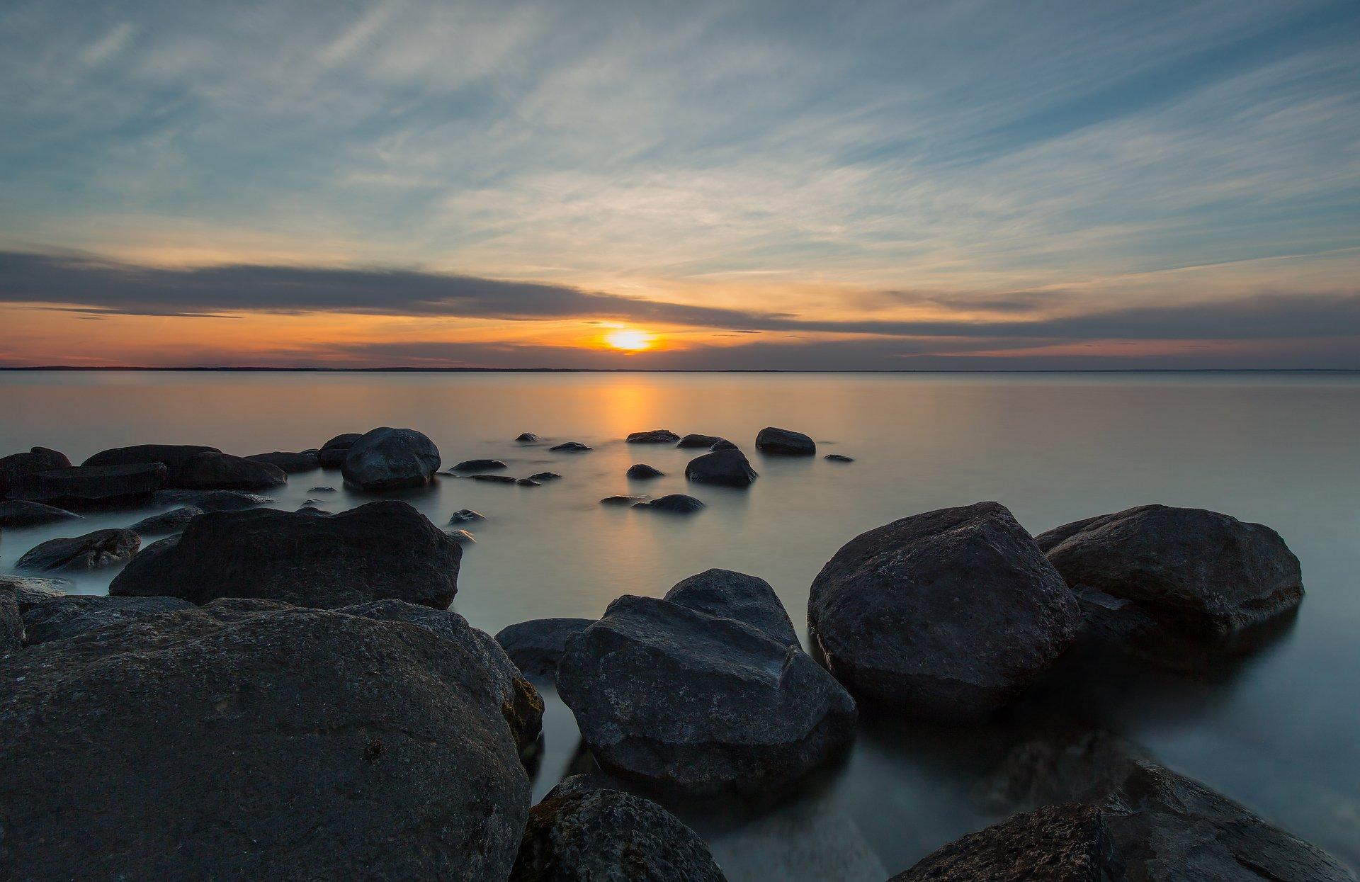 autumn, lake, sunset, rocks, осень, озеро, закат, камни, G A S