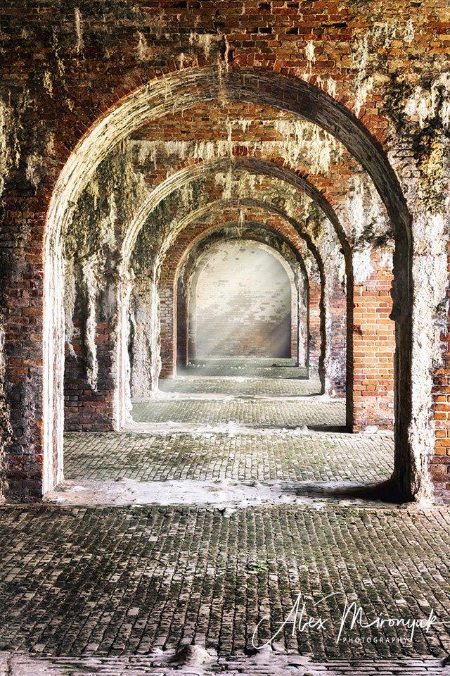 форт, крепость, история, галерея, арки, коридор, абстракция, архитектура, кирпич, стена, лофт,, Alex Mironyuk