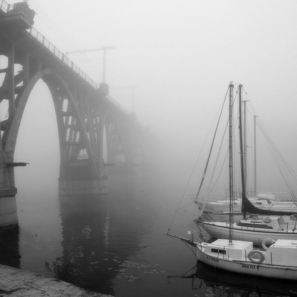 днепропетровск, туман, речные суда, мост, Александр Андреев