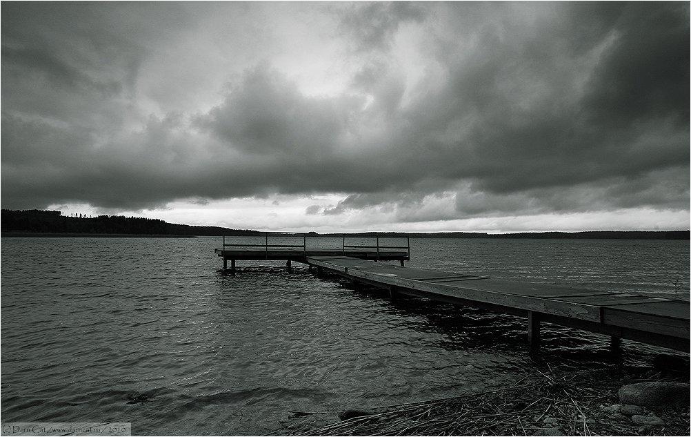 финляндия, непогода, тучи, озеро, пирс, Darn Cat