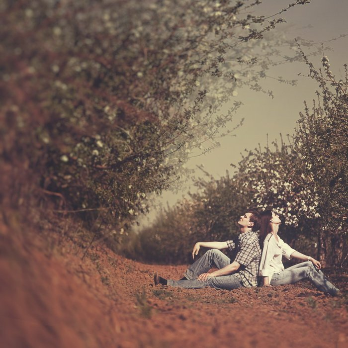 лавстори, любовь, пара, сад, цветы, яблони, волна, Ольга Брага (Eglantier)