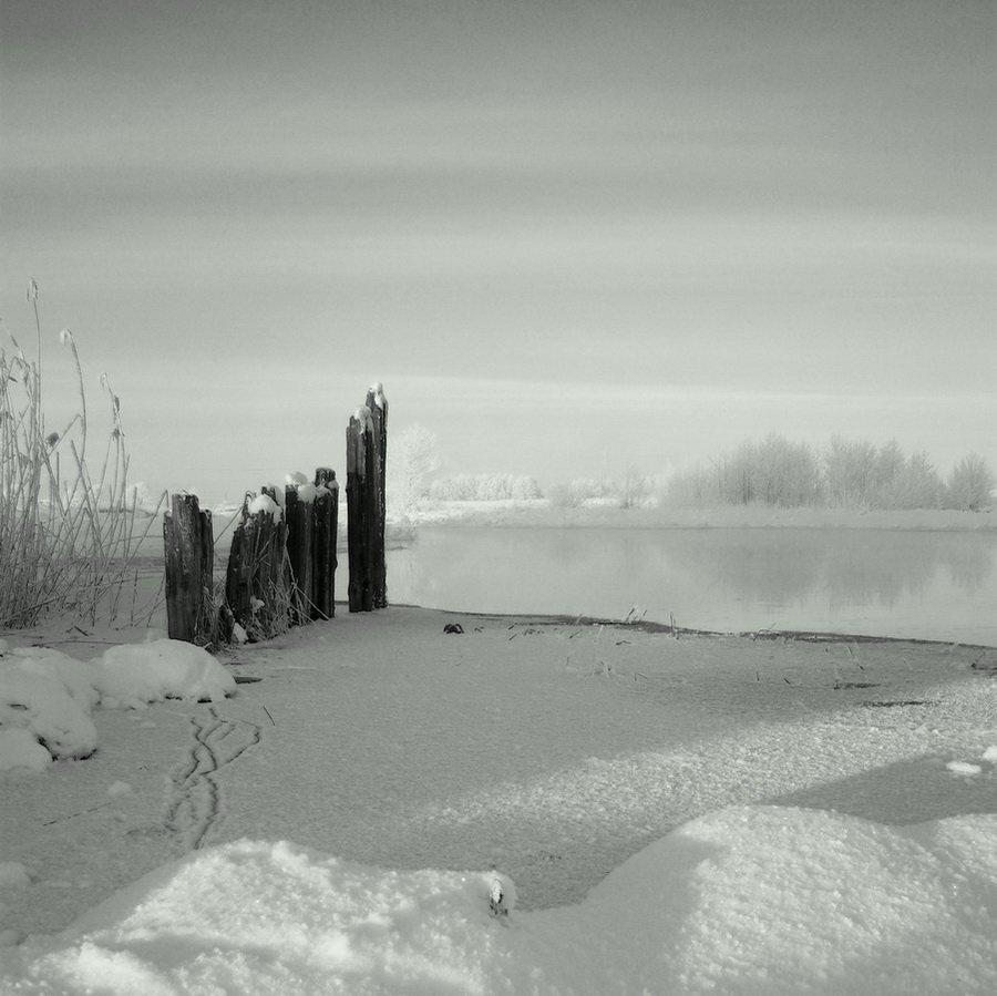 зельва, мельница, мороз, ч/б, снег, река, 6х6, 31.12.2009, Vodyanickii Vladimir