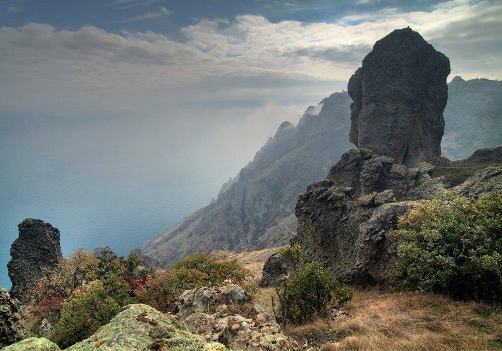 горы, море, осень, , облака, Алексей