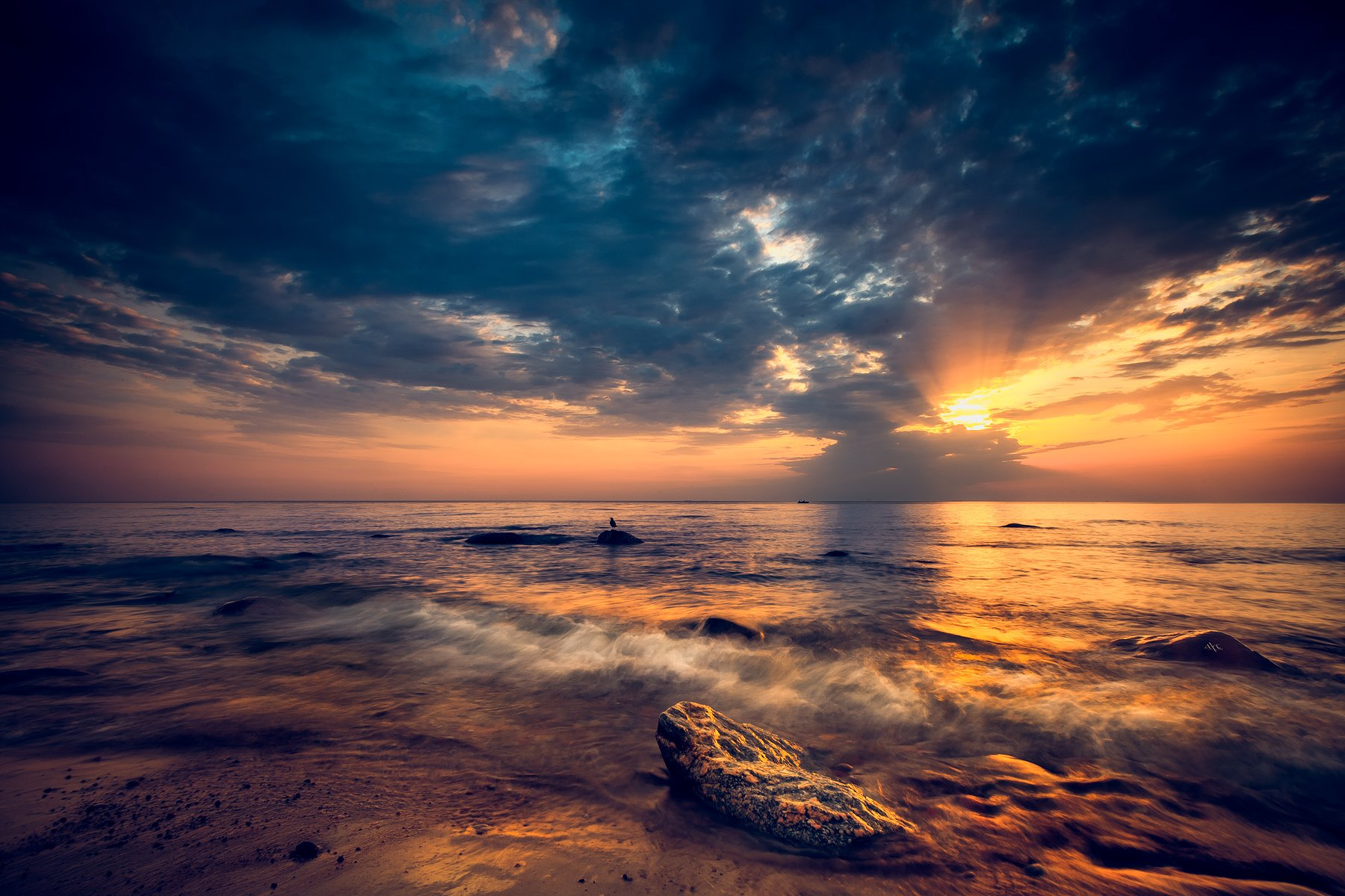 baltic sea, sunset, colors, seascape, wave, Руслан Болгов (Axe)