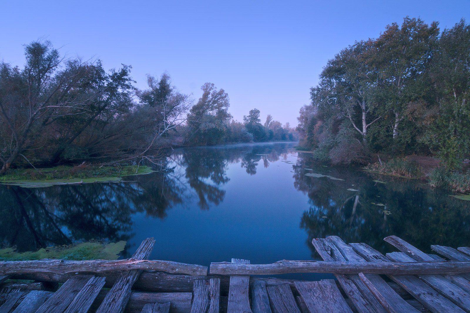 утро, рассвет, сумерки, мост, дымка, синева, пейзаж, Станислав Саламанов